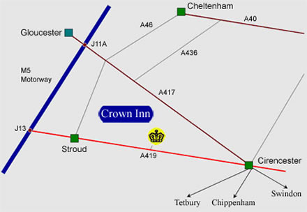 Location map to find The Crown Inn in Frampton Mansell